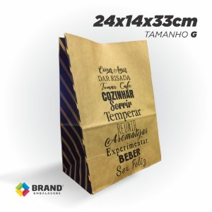 Saco Kraft Delivery - Comer, Amar - Tamanho G | 200unid.