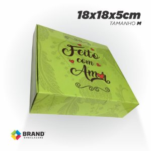 Caixa para Delivery - Feito com Amor - Tamanho M | 100 unid.