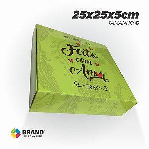 Caixa para Delivery - Feito com Amor - Tamanho G | 100 unid.