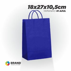 Sacola Kraft - Lisa Azul - 18x27x10,5cm | 10 Unid.
