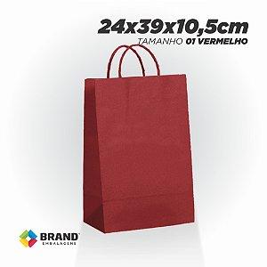 Sacola Kraft - Lisa Vermelha - 24x39x10,5 | 10 Unid.
