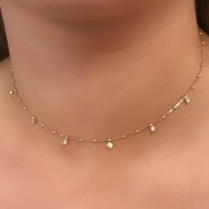 Chocker com bolinhas e Cristais