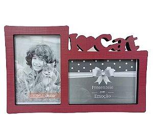 Porta Retrato I Love Cat Vermelho - 2 fotos 10x15cm