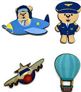 Aplique em MDF #21 Urso Aviador