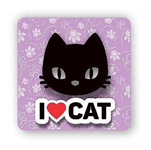 Imã em MDF | I LOVE CAT (2) | Relevo 3D
