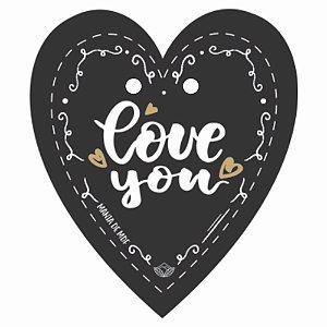 Placa Grande TAG MDF Decorativa | Formato de Coração | Love You
