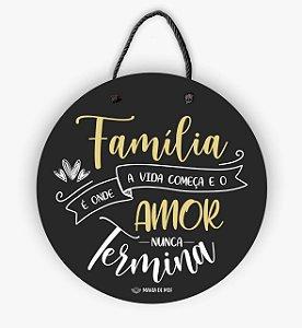 Placa Decorativa Redonda | Família