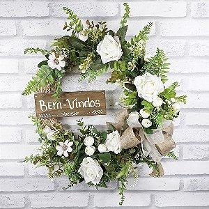 Guirlanda de Flores - Branco/Bem Vindos