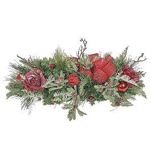 Arranjo de Natal -  Vermelho/Rosas Nevadas
