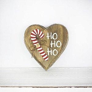 Coração de Madeira em Anelina - Ho Ho Ho - Coleção Candy