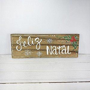 Placa de Madeira em Anelina Feita a Mão - Feliz Natal/Desenhos