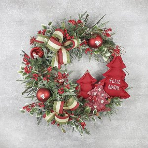 Guirlanda de Natal - Feliz Natal/Pinheiros