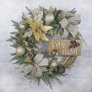 Guirlanda de Natal - Feliz Natal/Dourado