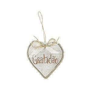 Coração Decorativo - Linho/Gratidão