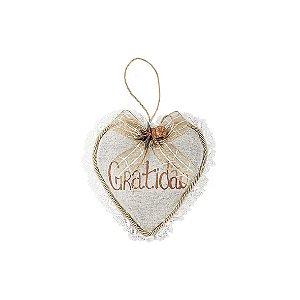Coração Decorativo - Linho + Renda/Gratidão