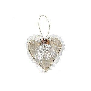 Coração Decorativa - Poá + Renda/Amor