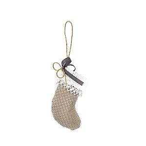 Bota Decorativa - Tecido/Cinza