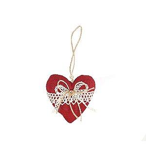 Coração Decorativo - Sarja/Vermelho