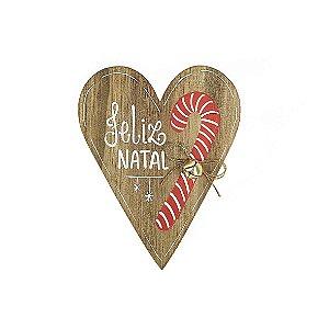 Placa de Madeira Coração em Anelina - Feliz Natal - Coleção Candy