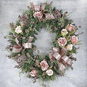 Guirlanda de Natal - Festão/Rosa Gold