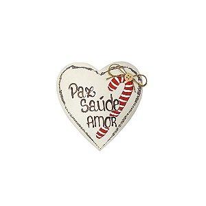 Coração de Madeira Provençal Feita a Mão Bege - Candy - Paz + Saúde + Amor