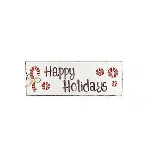 Placa Retangular Branca de Madeira Provençal Feita a Mão - Happy Holidays - Coleção Candy