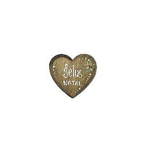 Coração de Madeira em Anelina - Feliz Natal - Coleção Rústica