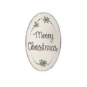 Placa Oval de Madeira Provençal Bege Feita a Mão - Merry Christmas - Coleção Rústica