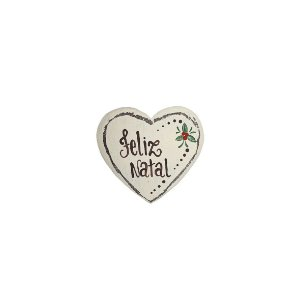 Coração de Madeira Provençal Bege- Feliz Natal - Coleção Rústica