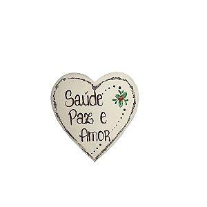 Coração de Madeira Provençal Bege- Saúde, Paz e Amor - Coleção Rústica