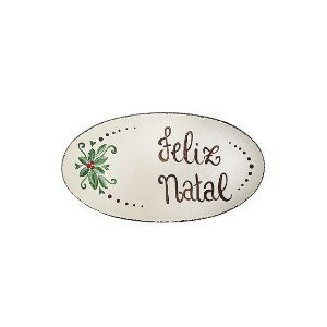 Placa Oval Bege de Madeira Provençal Feita a Mão - Feliz Natal - Coleção Rústica