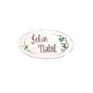 Placa Oval de Madeira Provençal Bege Feita a Mão - Feliz Natal - Coleção Rústica