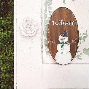 Placa Oval de Madeira Provençal Feita a Mão - Welcome - Coleção Snow
