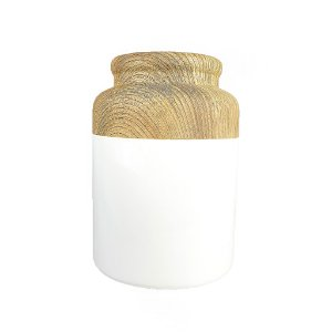 Vaso de Cerâmica  -Branco/Madeira