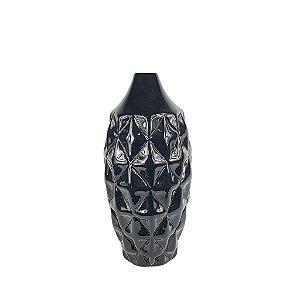 Vaso de Cerâmica Preto - Losango