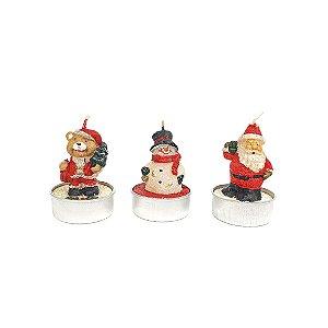Jogo de Velas Natalinas - Urso, Boneco de Neve e Noel