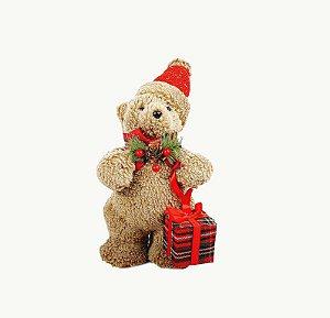 Urso de Natal Marrom - Segurando Caixa de Presente
