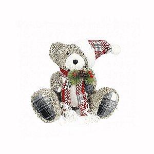 Urso de Natal Sentado -  Cinza/Xadrez
