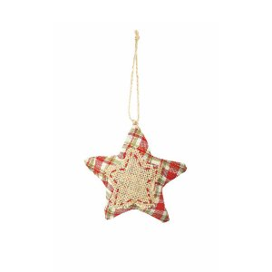 Estrela Decorativa Xadrez - Vermelho/Verde