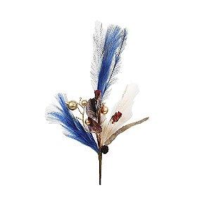 Galho Decorativo - Plumas e Berry/ Azul