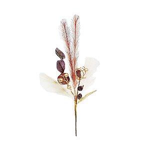 Galho Decorativo - Plumas e Berry/ Rosa