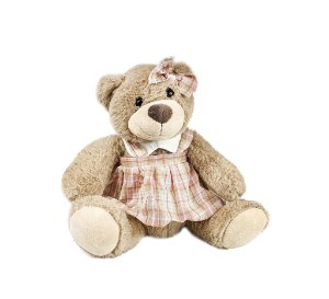 Ursa Sentada Menor - Cinza/ Xadrez Rosa