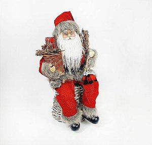 Papai Noel Decorativo - Sentado/Vermelho