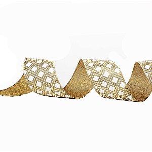 Rolo de Fita Aramada - Branco e Dourado