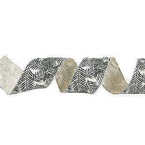 Rolo de Fita Aramada - Bege/Cipreste Verde