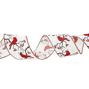 Rolo de Fita Aramada - Crua/ Pássaros Vermelho