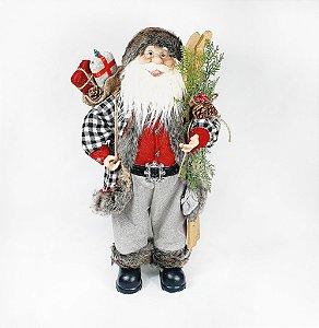 Papai Noel Decorativo - Cinza/Vermelho - 45cm