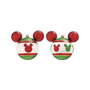 Kit Bolas Natalinas Silhueta Mickey c/ 4 - Vermelho/Verde - 8cm