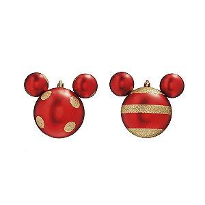 Kit Bolas Natalinas Silhueta Mickey -  Vermelho c/ Dourado c/4