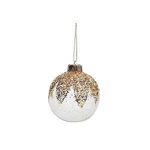 Kit Bolas Natalinas - Transparente c/ Detalhes em Dourado c/ Glitter - c/3 und - 10cm